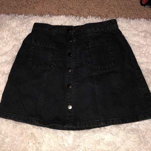 Black BDG Button Up Jean Skirt